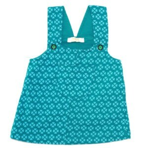 سارافون دخترانه طرح گل-سبز آبی