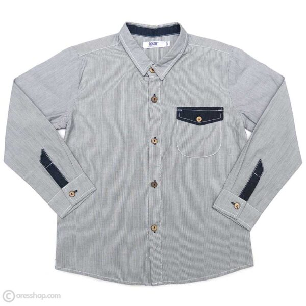 پیراهن پسرانه راه راه آستین بلند سفید-سرمهای