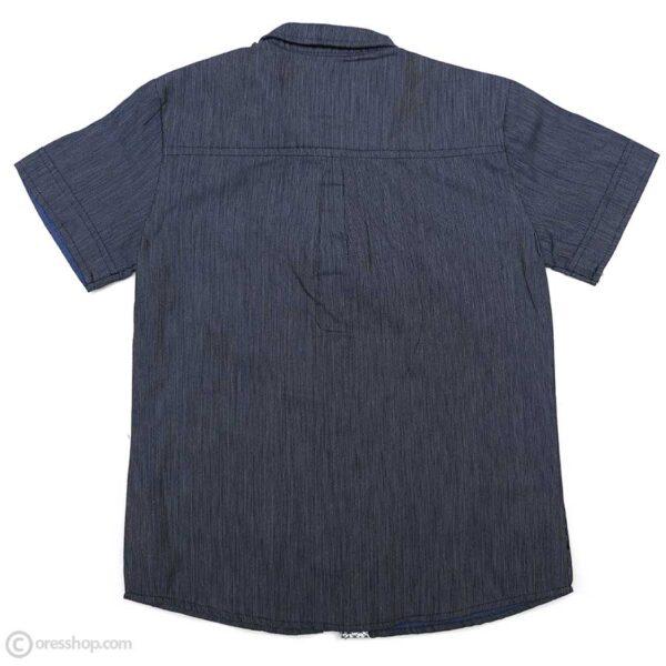 پیراهن پسرانه راه راه سرمه ای آستین کوتاه