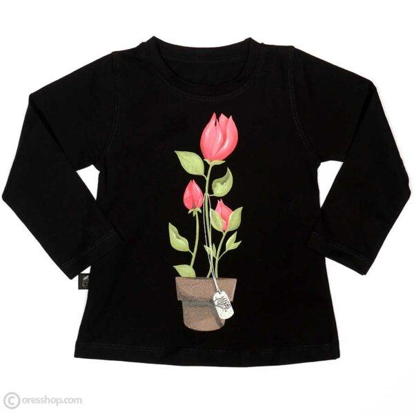 بلوز مشکی دخترانه آستین بلند گل و پلاک رقیه بنت الحسین