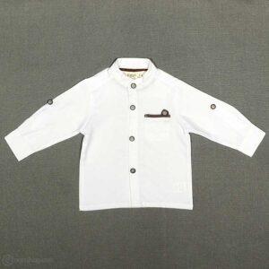 پیراهن پسرانه یقه ایستاده پارچه جودون سفید