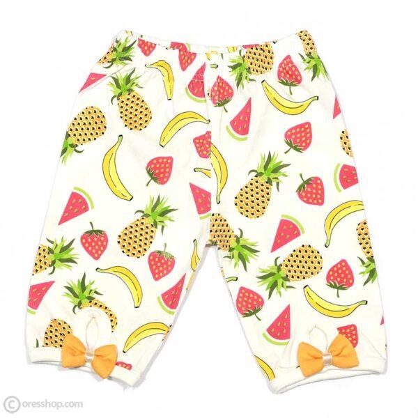 شومیز آستین حلقه دخترانه میوههای تابستانی-جلوی شلوار