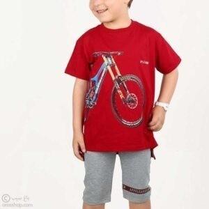تیشرت شلوارک پسرانه فرهود-قرمز مدل