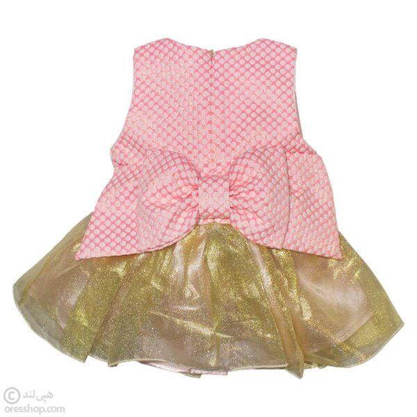 سارافون مجلسی نوزادی دخترانه با هدبند-پشت لباس