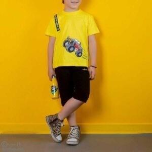 تیشرت شلوارک پسرانه هژیر-مدل زرد