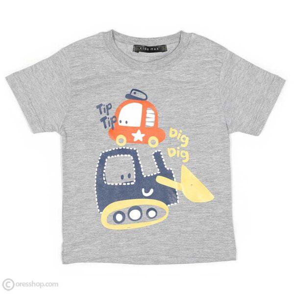 تیشرت شلوارک پسرانه ماشینی-تیشرت طوسی
