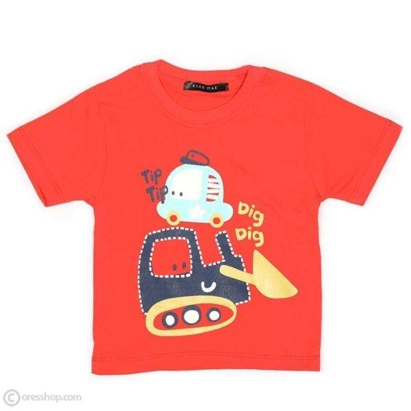 تیشرت شلوارک پسرانه ماشینی-تیشرت گلبهی
