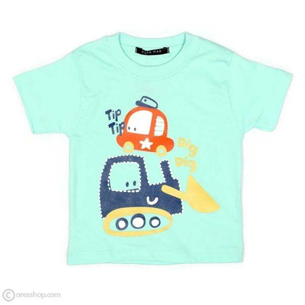 تیشرت شلوارک پسرانه ماشینی-تیشرت سبزآبی