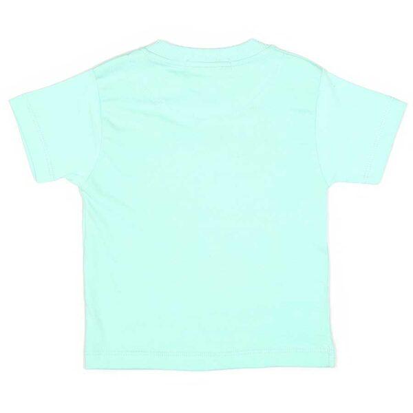 تیشرت شلوارک پسرانه ماشینی-پشت تیشرت سبزآبی