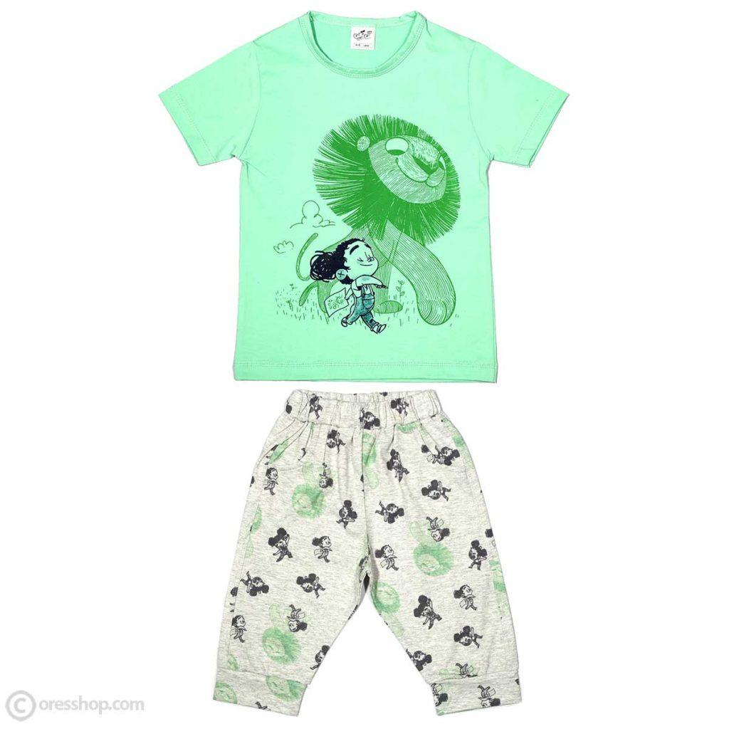 تیشرت شلوارک شیر رؤیایی سبز