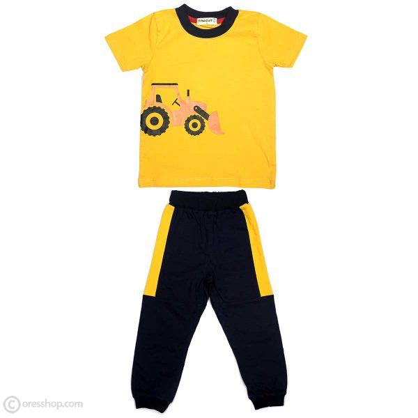 تیشرت شلوار پسرانه تراکتور زرد