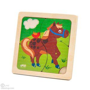 پازل چوبی 4 تکه اسب